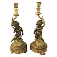 Pair French Louis XVI Style Bronze Cherub Candlesticks