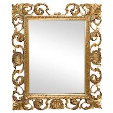 Italian Carved Gilt Wood Rococo Style Mirror
