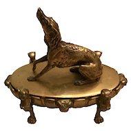Antique English Regency Bronze Dog Inkwell
