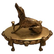 Antique English Regency Bronze Dog Inkwell