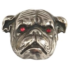 Sterling Silver Art Nouveau Bull Dog Watch Pin Brooch