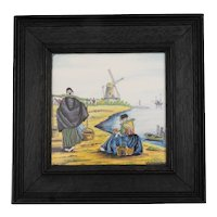 Dutch 19th C. Ceramic Tile Figures with Windmill