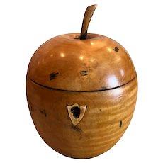 English 19th Century Carved Wood Apple Form Tea Caddy