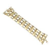 18K Gold Designer Signed Mid Century Gold Link Bracelet