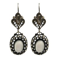 Antique Style Silver & Moonstone Pierced Earrings
