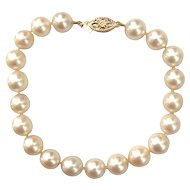 8 mm Cultured Akoya Pearl Bracelet, 14K Gold Clasp