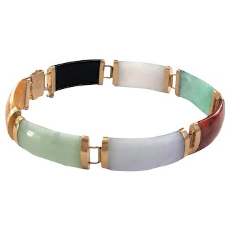 14K Gold Chinese Jade and Hard Stone Link Bracelet