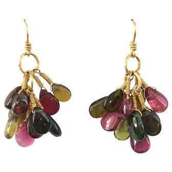 18K Gold Tourmaline Pierced Dangle Earrings