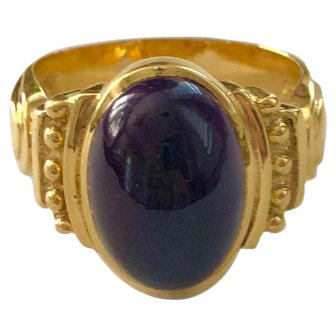 18K Gold Etruscan Style Cabochon Amethyst Ring