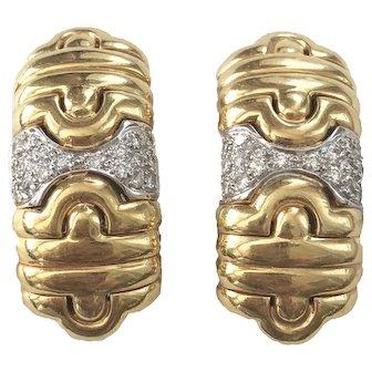 Elegant 18K Gold Diamond Hermes Style Clip Back Earrings