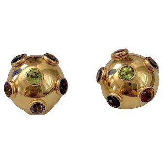 "Vintage 14K Gold ""Sputnik"" Multi Stone Clip Earrings"