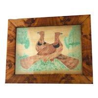 American Folk Art Watercolor Painting of Love Birds