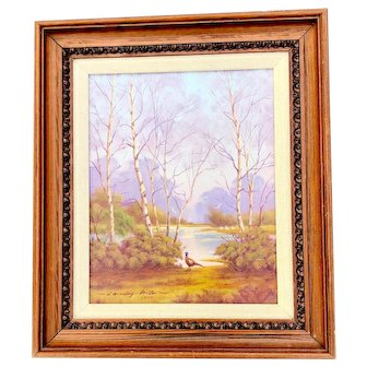 20th Century Oil Painting on Panel, Landscape with Bird