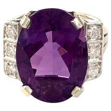 Vintage 14K White Gold Amethyst Diamond Ring