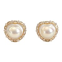 Elegant Heart Shape Cultured Pearl Diamond Pierced Post Earrings