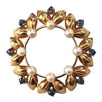 14K Gold Krementz Circle Pin with Pearls & Sapphires