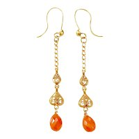 18K Gold Faceted Carnelian Drop Pierced Earrings