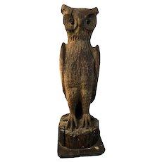 Monumental Carved Folk Art Owl