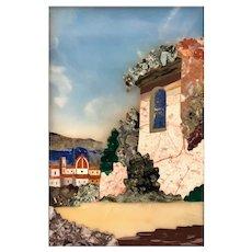 Framed Italian Pietra Dura Scenic Plaque