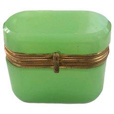 Antique French Green Opaline Miniature Box