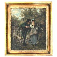 "19th Century European Painting, Oil on Canvas ""Lovers"""