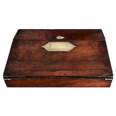 19th C. Rosewood Lap Desk Brass Mounts