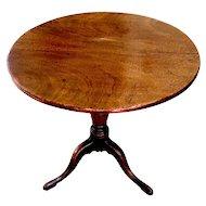 18th C English Miniature Mahogany Tilt Top Table