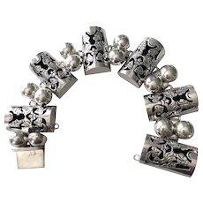 Vintage Mexican Large Sterling Silver Link Bracelet