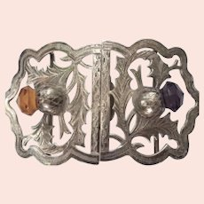 English Sterling Thistle Belt Buckle with Citrine & Amethyst