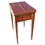 English Burled Walnut George III Work Table