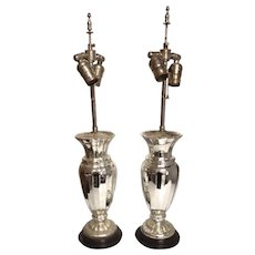 Pair of 19th Century Mercury Glass Lamps