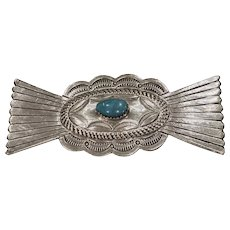Vintage Native American Sterling and Turquoise Pin