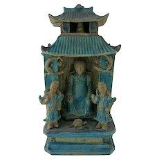 Chinese Turquoise & Aubergine Glaze Zhenwu Shrine 17th C.