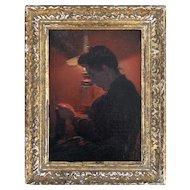 "Minerva J. Chapman ""Lady Knitting"" Oil On Panel Painting"