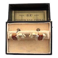 Toshikane Enamel on Porcelain Japanese Elephant Earrings in Box