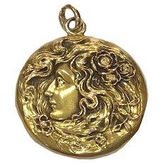 Art Nouveau 14K Gold Locket Female With Flowing Hair