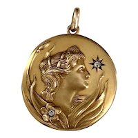 Art Nouveau 14K Gold & Diamond Figural Locket