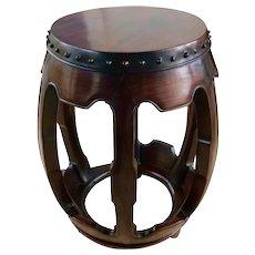 Chinese 19th C. Hongmu Barrell Stool / Garden Seat