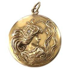 Large 10K Gold Art Nouveau Figural Picture Locket