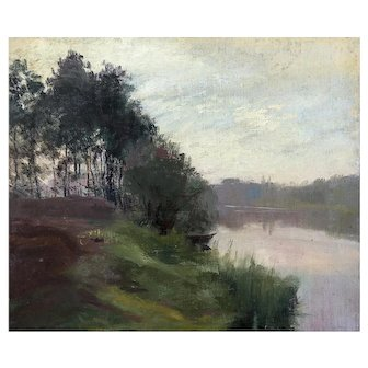 Minerva Chapman Oil on Canvas Painting River Landscape