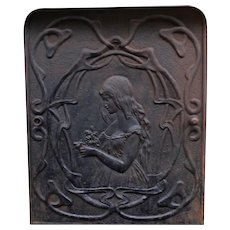 Art Nouveau Cast Iron Fire Place Door With Girl