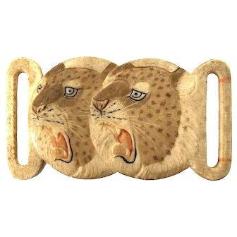 Japanese Meiji Carved Leopard Belt Buckle