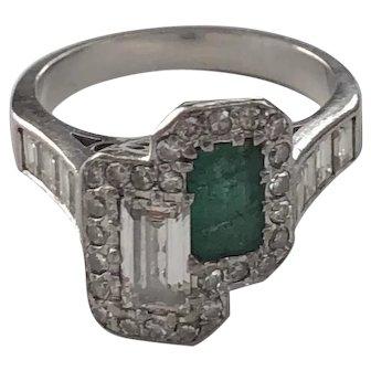 Art Deco 18K White Gold Diamond Emerald Ring