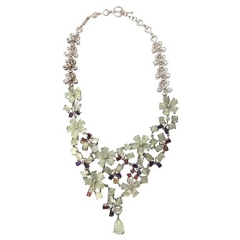 Whimsical Silver and Gemstone Floral Necklace