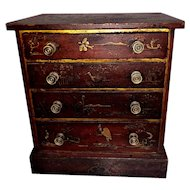 19th C. Miniature American Japanned Chest of Drawers