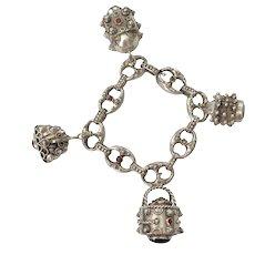 Vintage Silver Etruscan Style Jeweled Charm Bracelet
