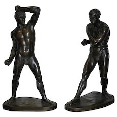 "Large Grand Tour Bronzes Of Pugilists "" Creugas And Damoxenos "" After Canova 19th C"