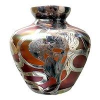 Bohemian Art Glass Silver Overlay Cabinet Vase