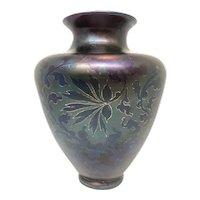 Loetz Vase in Rubin Matt Iris DEK Floral Decor