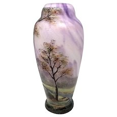 French Cameo Glass Scenic Vase Signed Lamartine